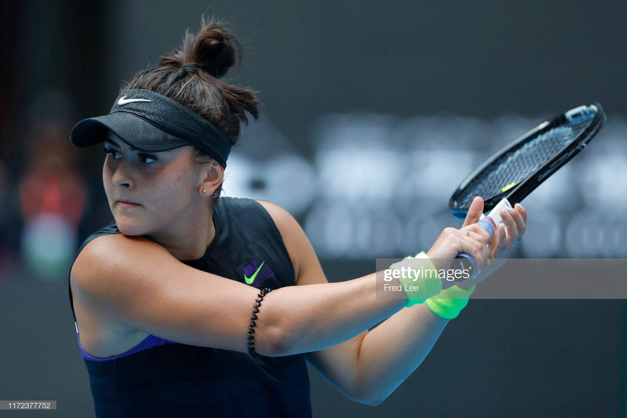 BEIJING, CHINA - SEPTEMBER 30: Bianca Andreescu of Canada in action against Aliaksandra Sasnovich of Belarus during the Women's singles first round of 2019 China Open at the China National Tennis Center on September 30, 2019 in Beijing, China. (Photo by Fred Lee/Getty Images)